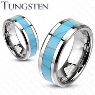 Wolfrámový prsteň, tyrkysový pás s mramorovým vzorom, skosené hrany - Veľkosť: 49 mm, Šírka: 8 mm
