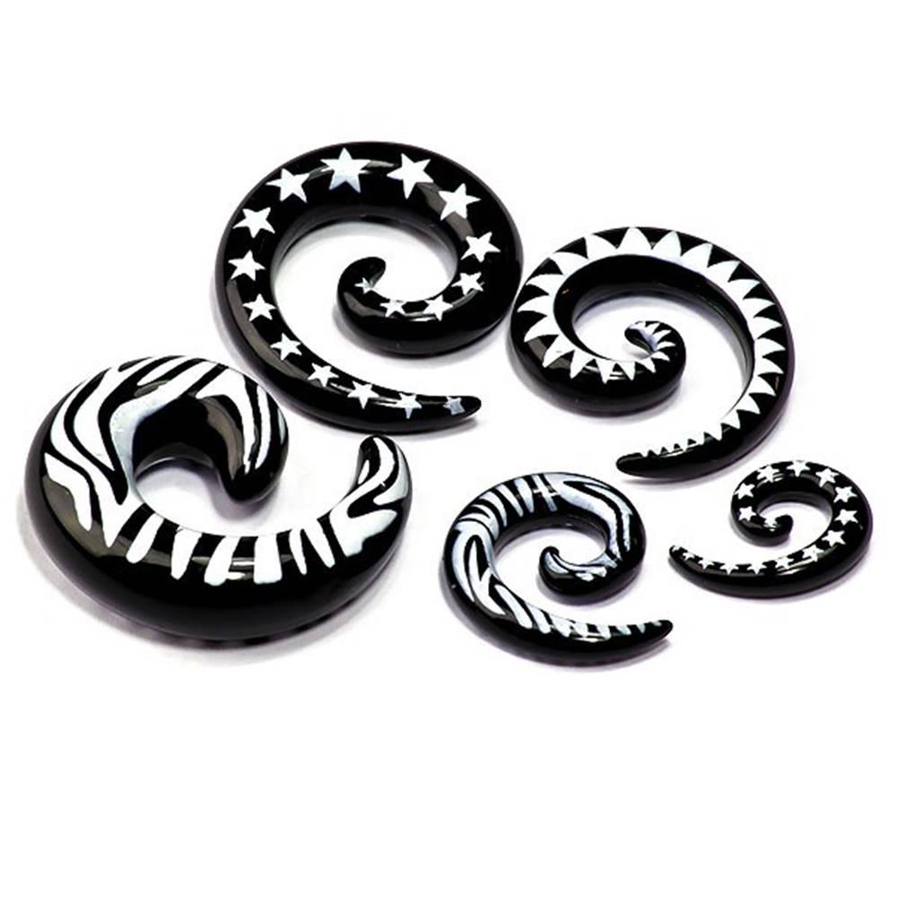 Šperky eshop Expander do ucha - tvar čierny slimáčik, biely vzor - Hrúbka: 3 mm, Tvar hlavičky: Zebra