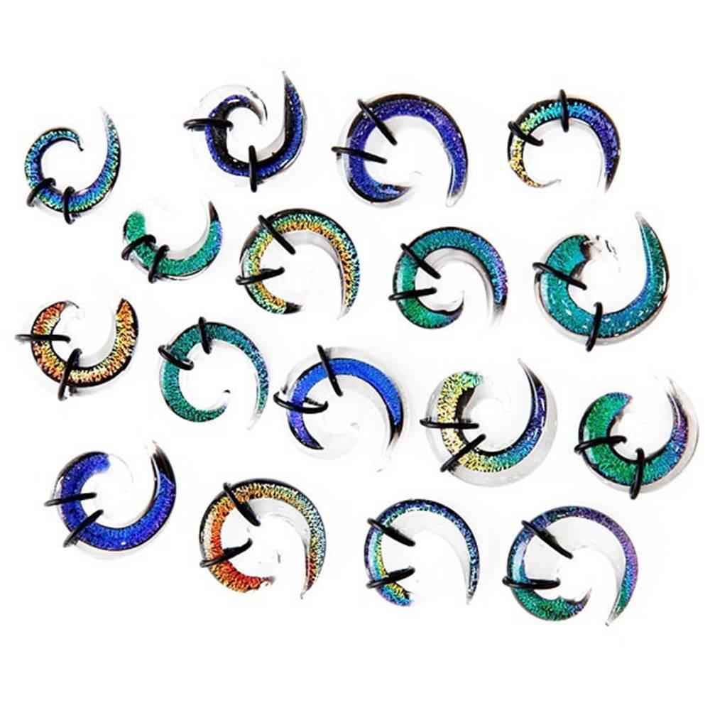Šperky eshop Expander do ucha - viacfarebná sklenená špirálka, gumičky - Hrúbka: 10 mm, Farba piercing: Číra - Tyrkysová - Fialová