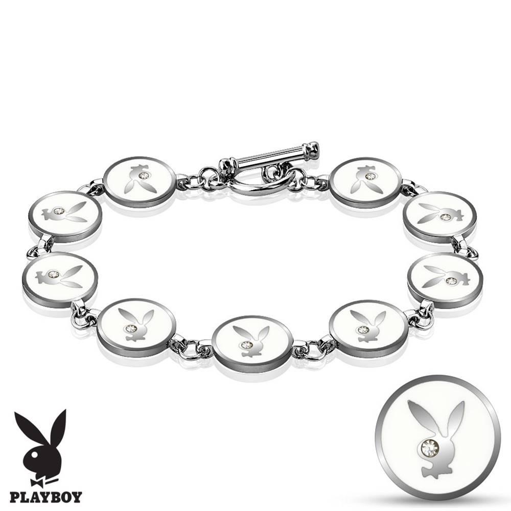 Šperky eshop Oceľový náramok striebornej farby, biele kolieska s Playboy zajačikom, zirkóniky