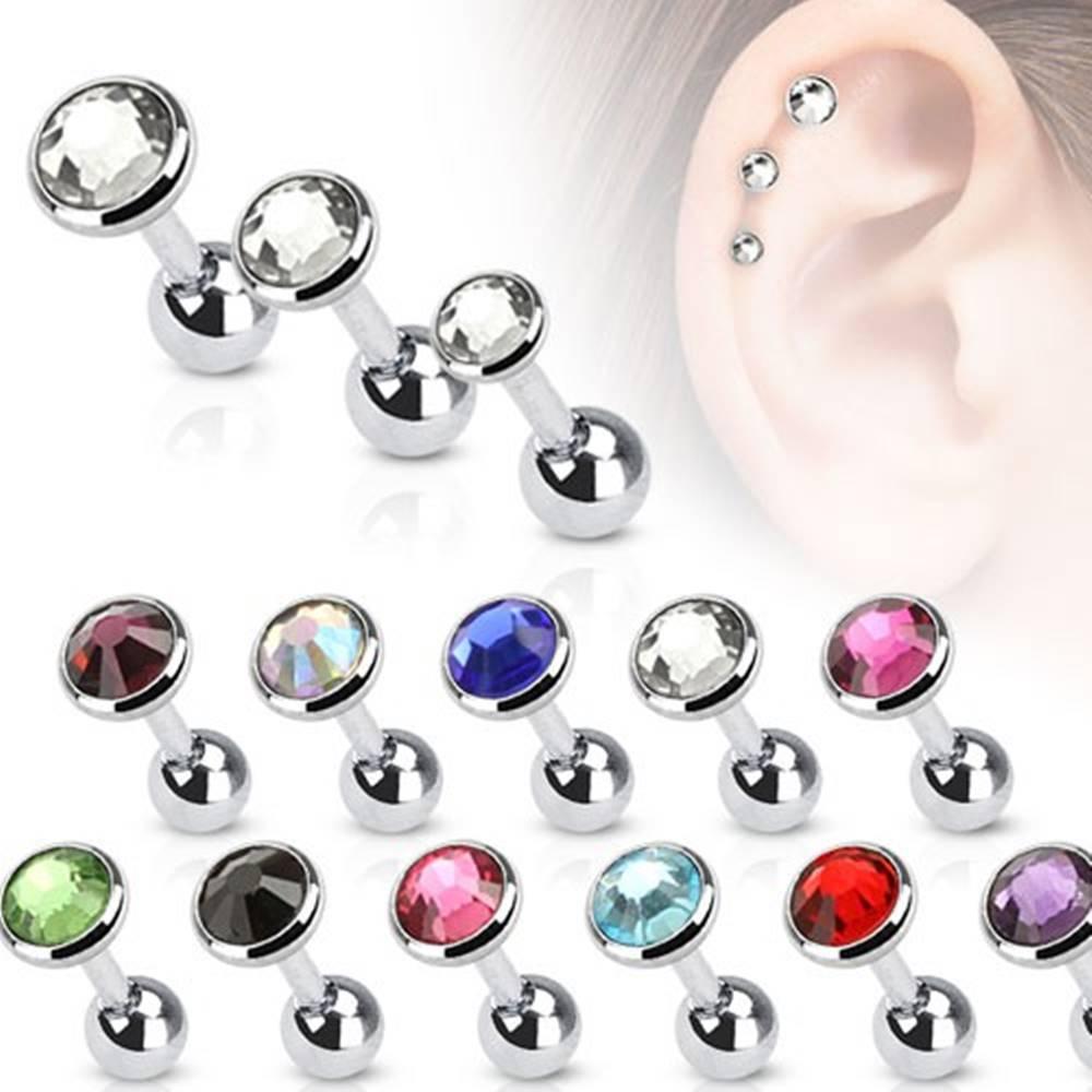 Šperky eshop Piercing do ucha z chirurgickej ocele s okrúhlym zirkónom - Veľkosť hlavičky: 3 mm, Farba zirkónu: Fuksiová - F