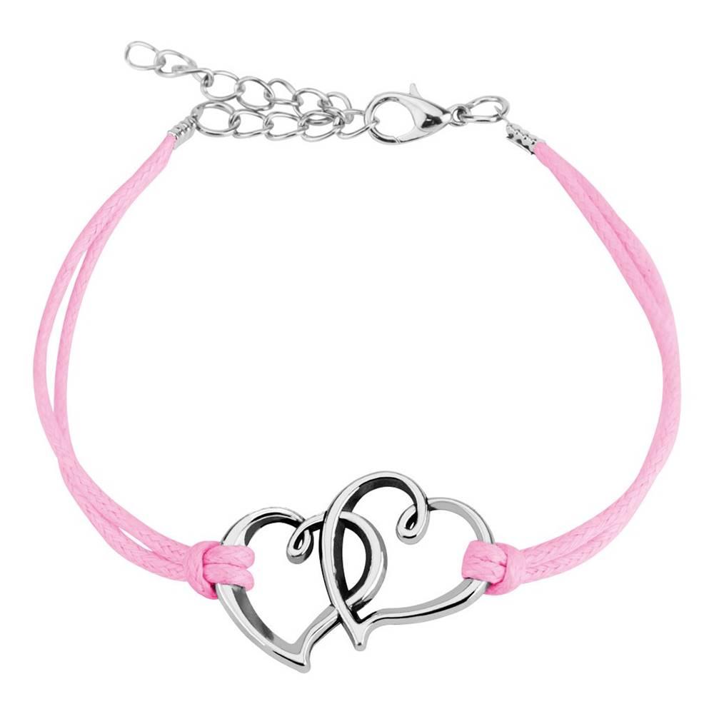 Šperky eshop Ružový šnúrkový náramok, dve siluety asymetrických sŕdc striebornej farby