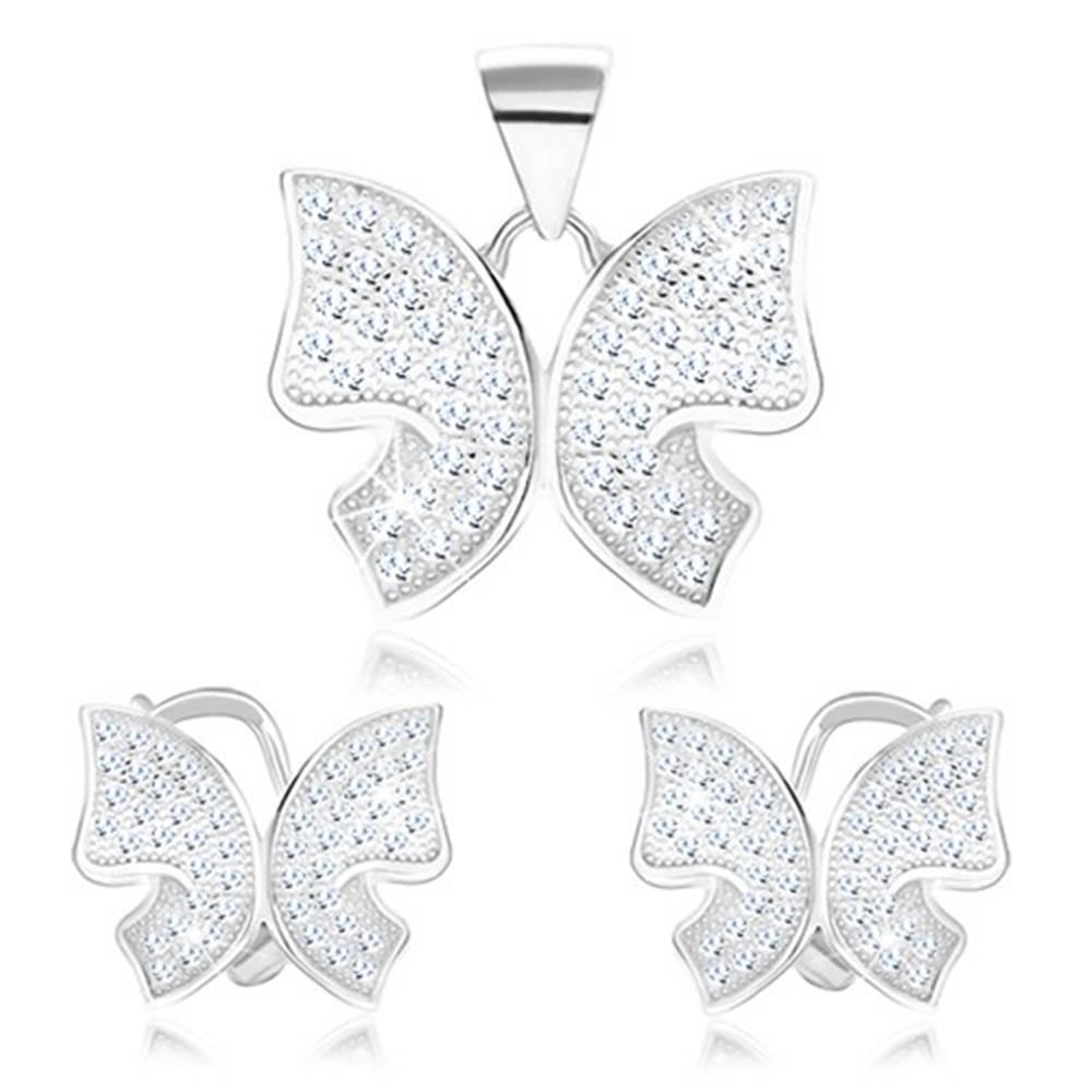 Šperky eshop Set zo striebra 925 - prívesok a náušnice, motýlik, číre zirkóniky