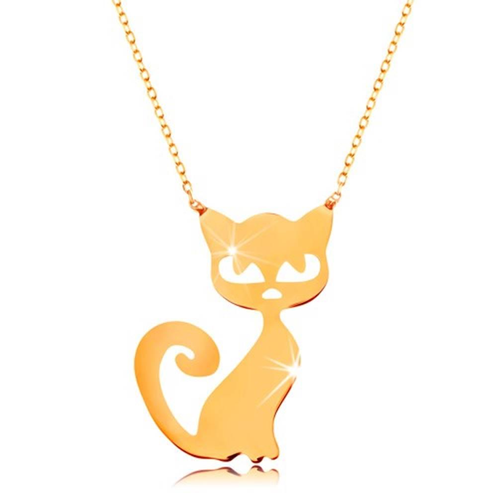Šperky eshop Zlatý 14K náhrdelník - plochý prívesok - mačička, jemná ligotavá retiazka