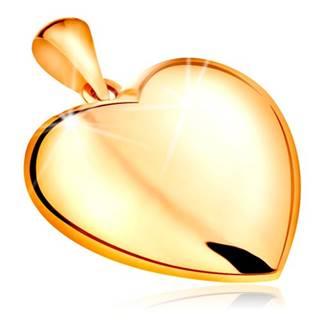 Prívesok zo žltého 14K zlata - obojstranne vypuklé srdce, lesklý povrch