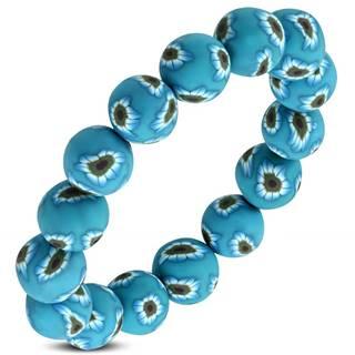 Pružný FIMO náramok, modré korálky s kvetmi na gumičke