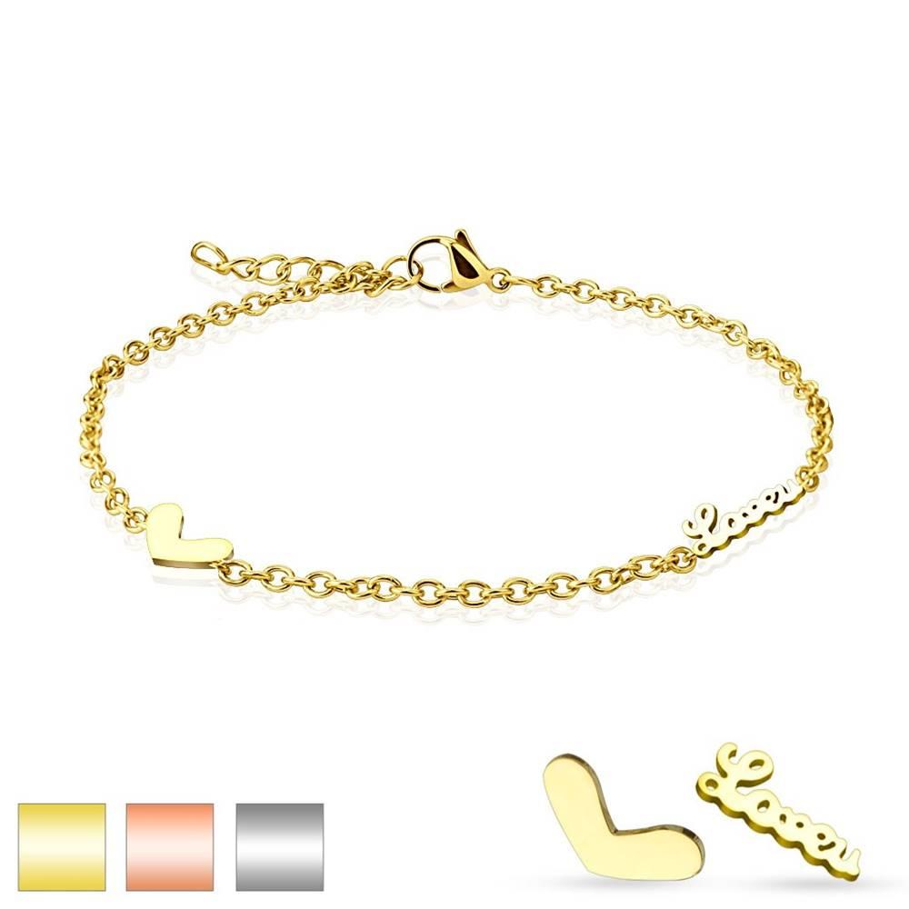 Šperky eshop Náramok z chirurgickej ocele, prívesky - srdiečko a zamilovaný nápis, oválne očká - Farba: Medená