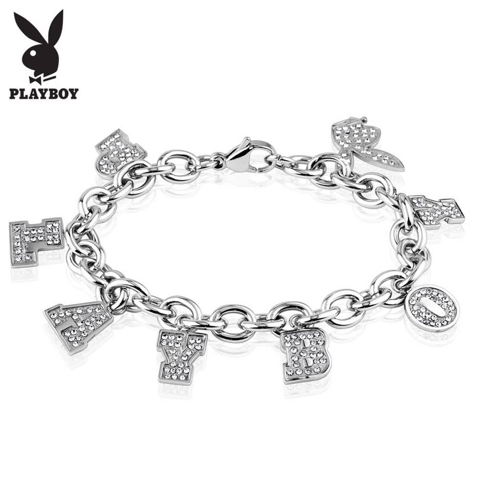Šperky eshop Náramok z chirurgickej ocele striebornej farby, číry nápis PLAYBOY a zajačik