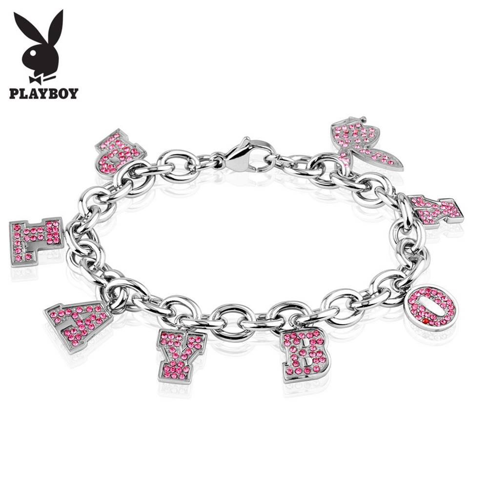 Šperky eshop Náramok z ocele 316L striebornej farby, prívesky - ružový nápis PLAYBOY a zajačik