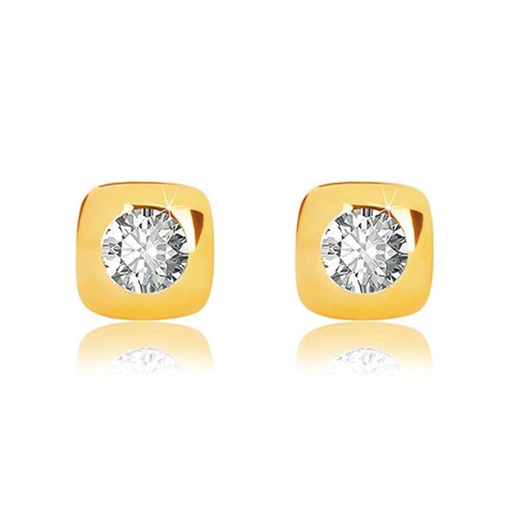 Šperky eshop Náušnice v 9K žltom zlate - lesklý štvorec so zaoblenými hranami a zirkónom