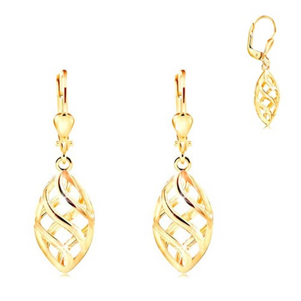 Šperky eshop Náušnice v žltom 14K zlate - veľké zrnko zdobené mriežkou z vlniek