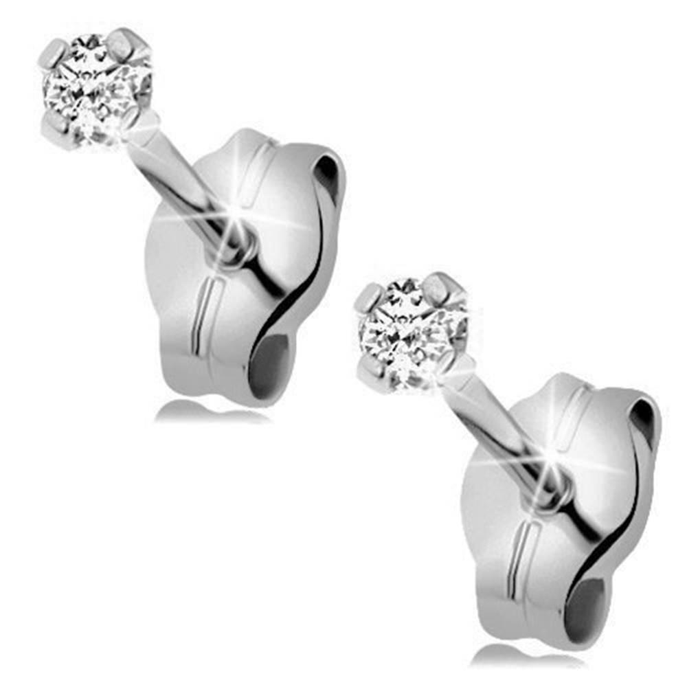 Šperky eshop Náušnice z bieleho zlata 375 - číry ligotavý zirkón okrúhleho tvaru, 2 mm