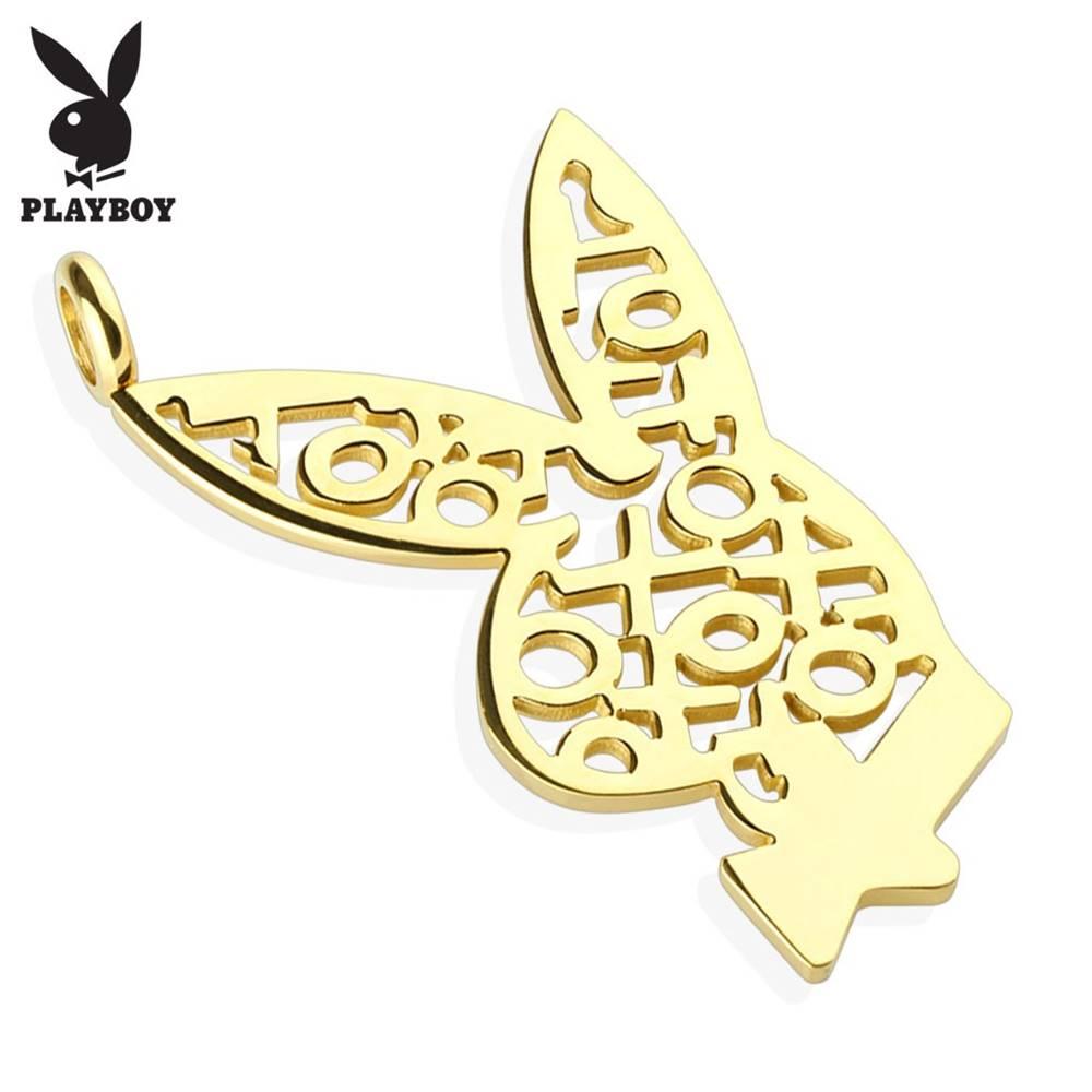 Šperky eshop Oceľový prívesok zlatej farby, zajačik Playboy, vzor z krížikov a kruhov