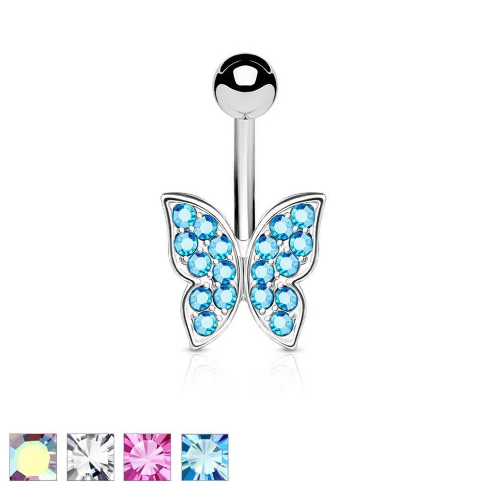 Šperky eshop Piercing do bruška z chirurgickej ocele, trblietavý zirkónový motýlik - Farba zirkónu: Aqua modrá - Q