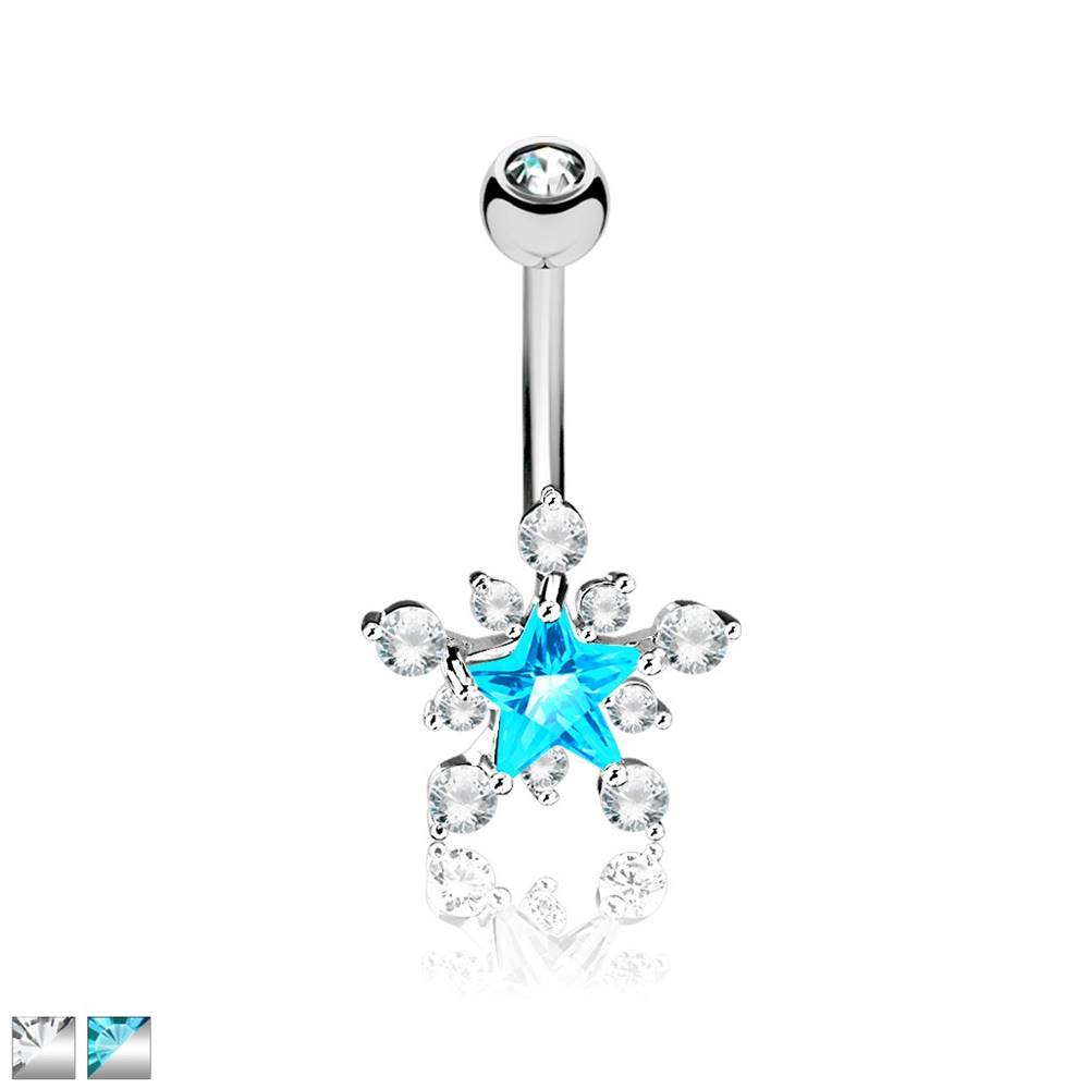 Šperky eshop Piercing do pupka z chirurgickej ocele - trblietavá zirkónová hviezda - Farba zirkónu: Aqua - číra