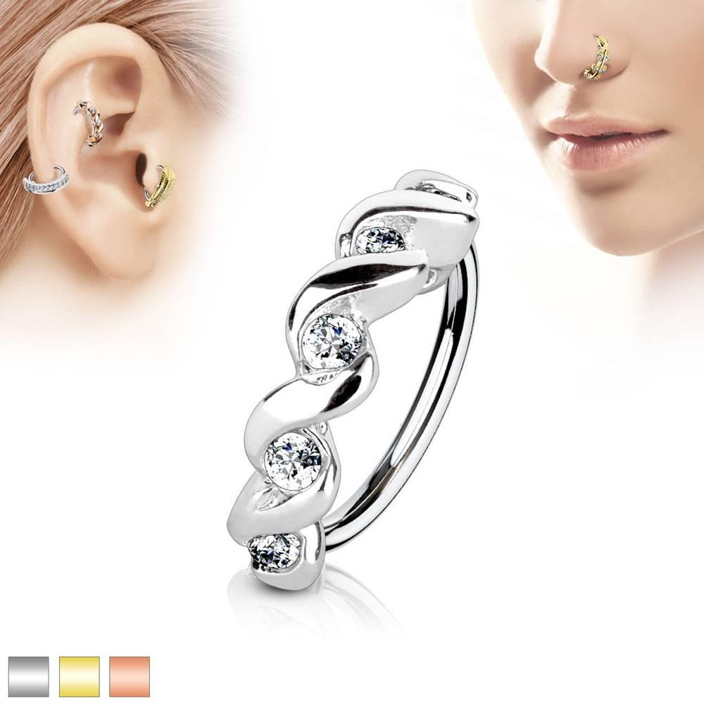 Šperky eshop Piercing krúžok z chirurgickej ocele, špirála s čírymi zirkónmi - Hrúbka x priemer: 0,8 mm x 8 mm, Farba piercing: Medená