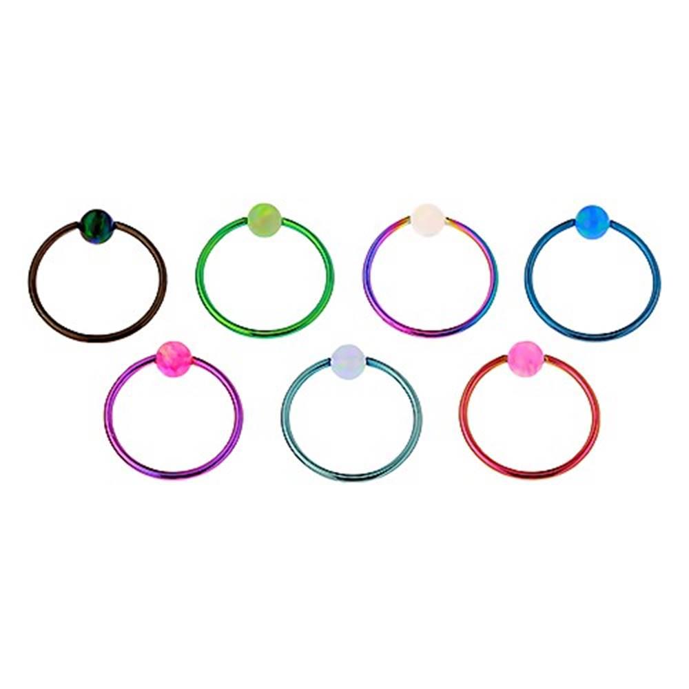 Šperky eshop Piercing z chirurgickej ocele, lesklý farebný krúžok, dúhova gulička - Hrúbka x priemer x veľkosť guličky: 0,8 x 10 x 3 mm, Farba: Svetlomodrá