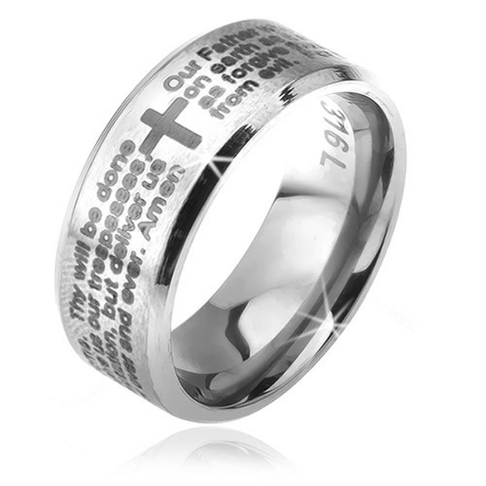 Šperky eshop Prsteň z chirurgickej ocele striebornej farby, skosené okraje, modlitba Otčenáš, 6 mm - Veľkosť: 49 mm