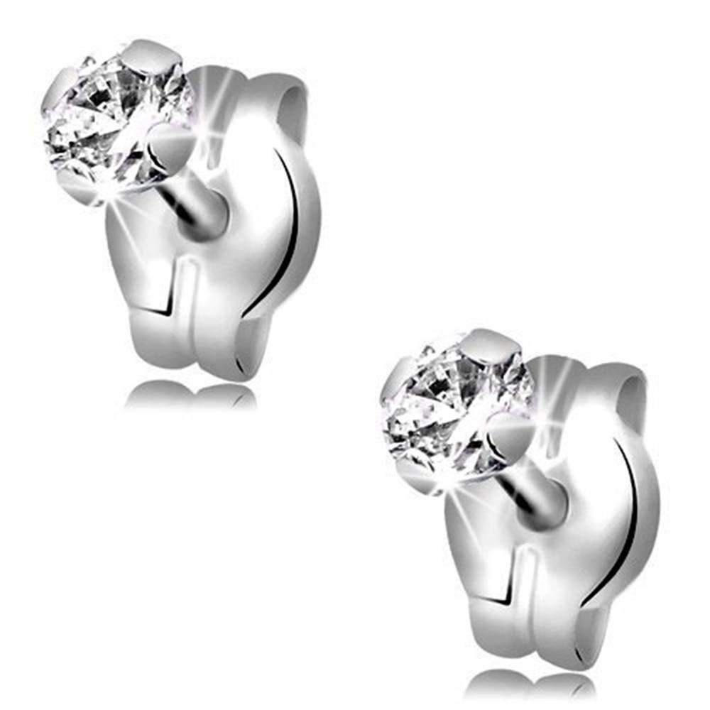 Šperky eshop Puzetové náušnice v bielom 9K zlate - číry okrúhly zirkón v kotlíku, 3 mm