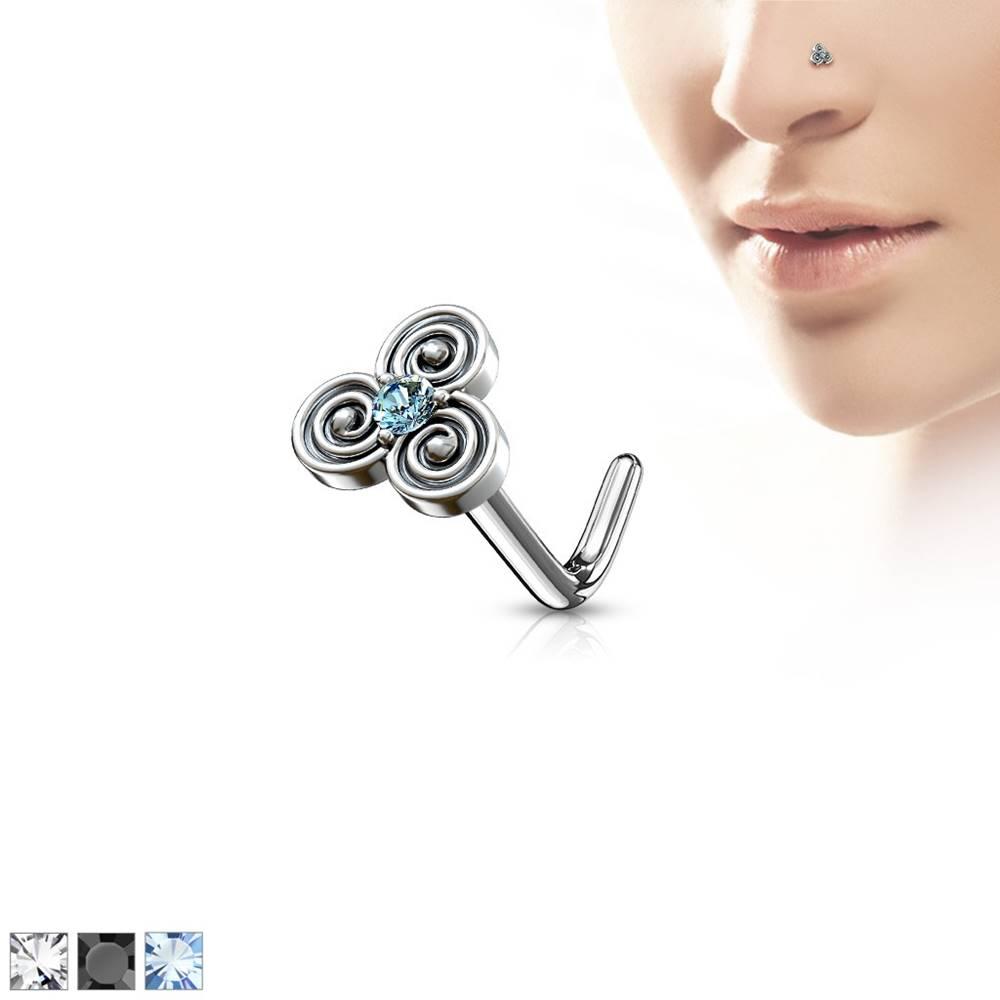 Šperky eshop Zahnutý oceľový piercing do nosa s keltským motívom, zirkónik v strede - Hrúbka piercingu: 0,8 mm, Farba zirkónu: Čierna - K