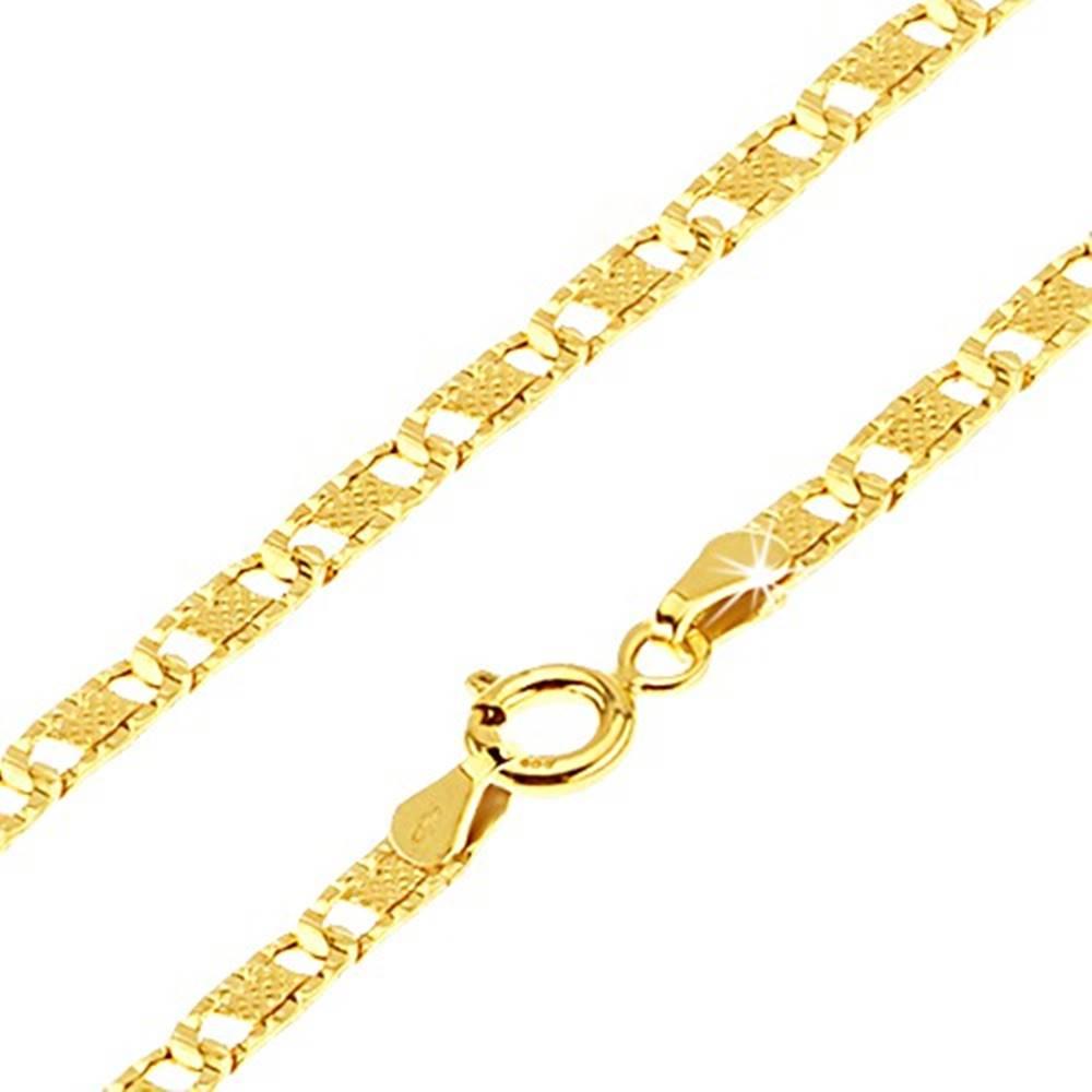 Šperky eshop Zlatá retiazka 585 - ploché podlhovasté ryhované články, mriežka, 550 mm