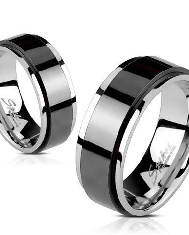 Obrúčka z ocele - vyvýšený otáčavý pás čiernej farby, úzke okraje, 6 mm - Veľkosť: 49 mm