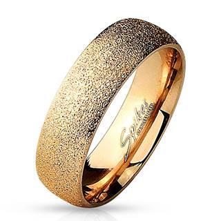 Oceľový prsteň ružovozlatej farby - pieskovaný povrch s trblietavými odleskami, 6 mm - Veľkosť: 49 mm