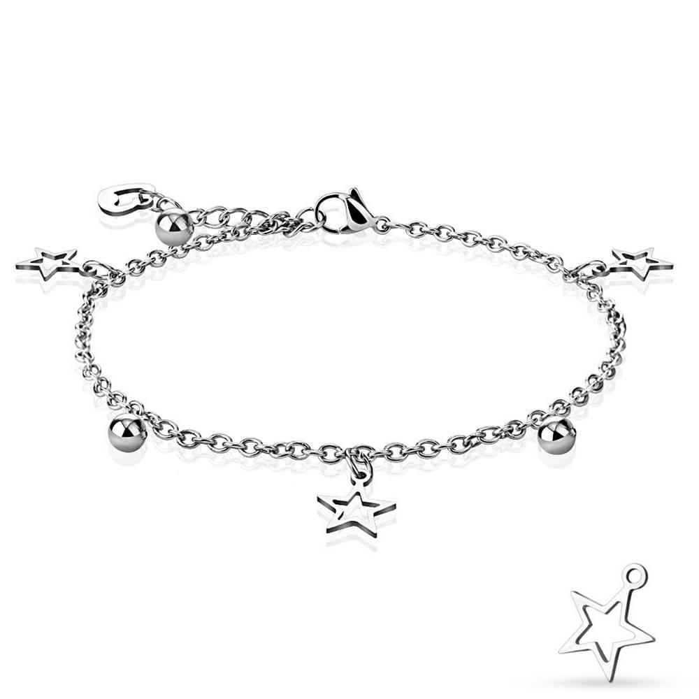 Šperky eshop Náramok z ocele v striebornej farbe - kontúry hviezd, lesklé guličky a obrys srdiečka