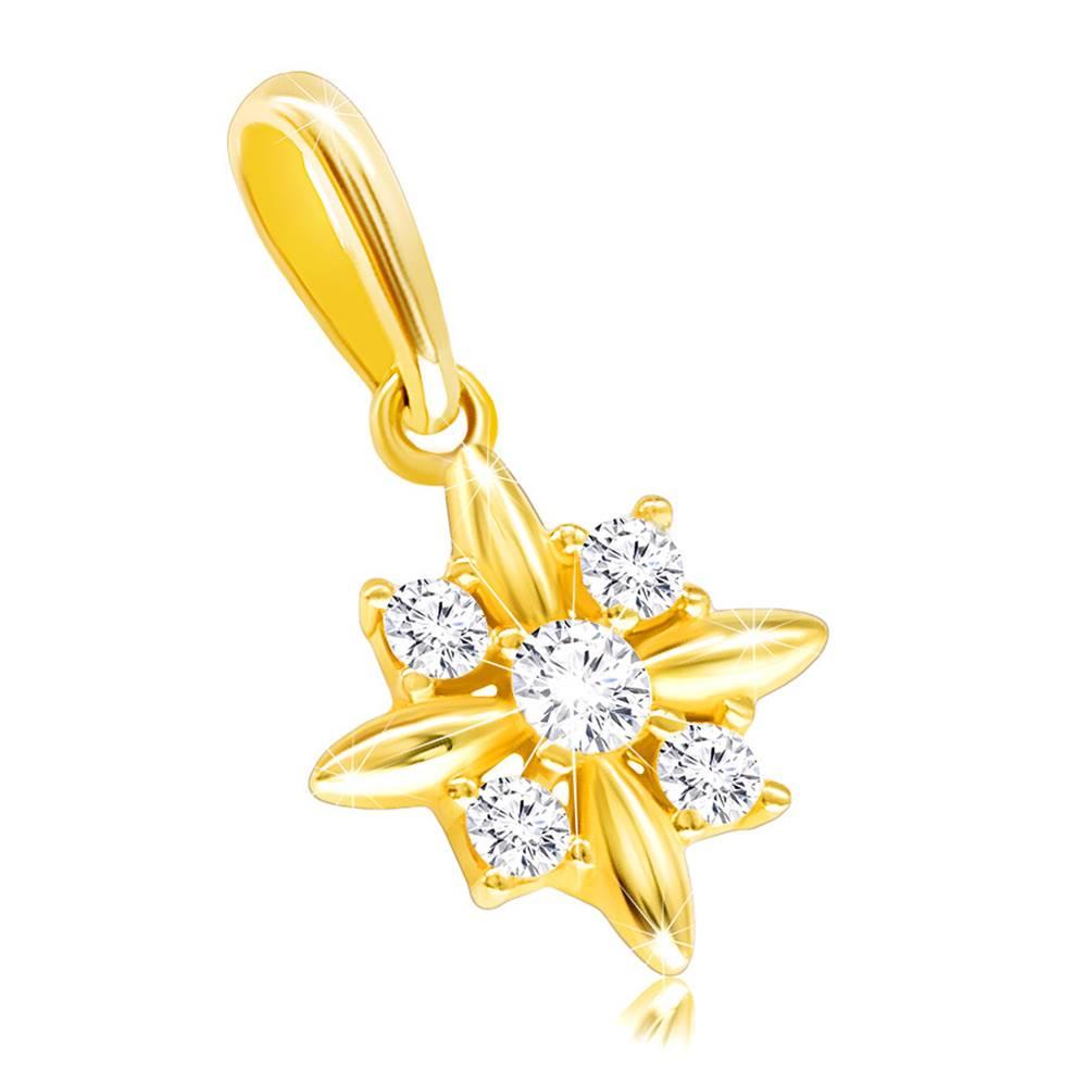Šperky eshop Prívesok v žltom 14K zlate - kvietok s podlhovastými lupeňmi a okrúhlymi zirkónikmi