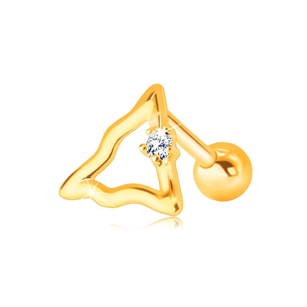 Šperky eshop Zlatý 14K piercing do brady a pery - zvlnená kontúra trojuholníka s čírym zirkónom